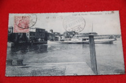 Lago Di Garda Desenzano Il Porto Con Piroscafo Bateau Zanardelli 1917 + Timbro Frazionario Non Comune+++ - Brescia