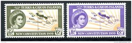 Turks And Caicos Islands, 1959, New Constitution, Map, MNH, Michel 178-179 - Turks & Caicos (I. Turques Et Caïques)