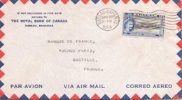BAHAMAS ENVELOPPE A EN TETE DU 20 AVRIL 1954 DE NASSAU POUR PARIS THE ROYAL BANK OF CANADA - Bahamas (...-1973)