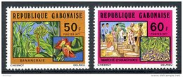 Gabon, 1977, Agriculture, Bananas, Peanuts, MNH, Michel 616-617 - Gabon (1960-...)