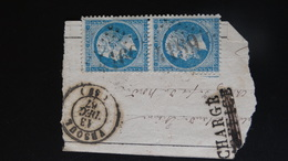 GC 4169 Sur Bde De 2 X 20c Napoleon III N° 22 - 1849-1876: Classic Period