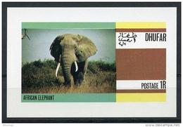 Dhufar, African Elephant, Animals, Fauna, MNH Imperforated Cinderella Sheet - Timbres