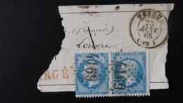 GC 4169 Sur Bde De 2 X 20c Napoleon III N° 22 Année 1868 - 1849-1876: Classic Period