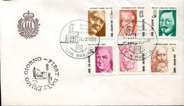27802 San Marino, Fdc 1983 Alessandro Volta, Evangelista Torricelli, Pitagora, Carl Linnè,leonardo Da Vinci, - Celebrità