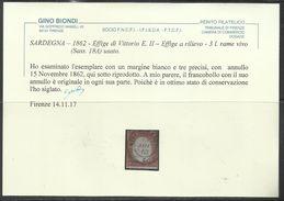 ITALIA REGNO ITALY KINGDOM SARDEGNA 1861 - 1863 EFFIGIE RE VITTORIO EMANUELE II KING LIRE 3 USATO USED OBLITERE' - Nuovi