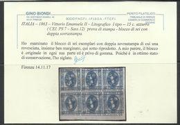 ITALIA REGNO ITALY KINGDOM 1863 CENT.15 I TIPO VARIETA' DOPPIA STAMPA ROVESCIATA VARIETY  BLOCCO BLOCK - Nuovi