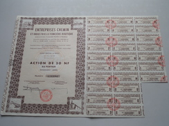 Entreprises Chemin Et Industr. Foncière Rout / Action De 50 NF Au Porteur N° 125,496 ( Voir Photo Pour Detail )! - Actions & Titres