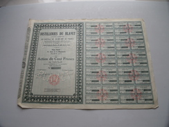 Distilleries Du BLAVET / Action De 100 Francs Au Porteur N° 022,777 ( Voir Photo Pour Detail )! - Actions & Titres