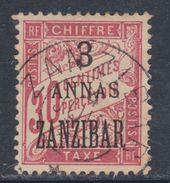 Zanzibar Taxe N° 4 O : 3 Annas Sur 30 C. Rouge Carminé Oblitération Moyenne Sinon TB - Used Stamps