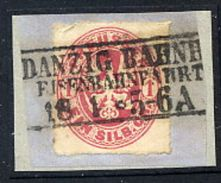 DANZIG C 1861 Danzig Bahnh. Postmark On Prussia 1 Gr. On Piece.  Wolff 72b  25 Points - Danzig
