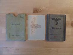 Alter Wehrpass 1938 Heer Gefreiter + Wehrpasshülle + Wehrpassnotiz + Wohnungsmeldeschein + Quartierschein - Historical Documents