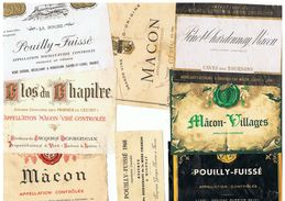 LOT 24 ETIQUETTES VIN MACONNAIS POUILLY FUISSE , MACON VILLAGES ,  LUGNY. Récupérées Sur Bouteille , - Bourgogne