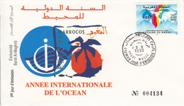 MAROC 1998 - ENVELOPPE PREMIER JOUR FDC - ANNEE INTERNATIONALE DE L'OCEAN - Marruecos (1956-...)