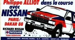 Autocollant  -  Philippe Alliot Dans La Course Avec NISSAN  PARIS-DAKAR 88 - Autocollants