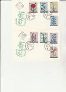 BULGARIE -SERIE FLEURS N° 1475 A 1482 SUR 2 LETTRES ILLUSTREES  ANNEE 1967 - FDC