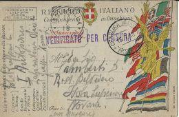 FRANCHIGIA POSTA MILITARE 1918 CENSURA MILITARE NOVARA X ISOLA BELLA BIS - Military Mail (PM)