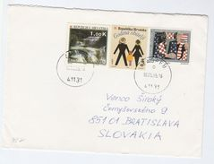 1995 CROATIA COVER Stamps SKRADINSKI WATERFALL, FAMILY, CROATIAN FRATERNAL UNION To Slovakia - Croatia