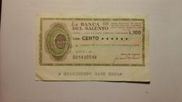 Miniassegno Da £. 100 Della Banca Del Salento - Consorzio Fra Gli Artigiani Della Provincia Di Lecce - [10] Assegni E Miniassegni