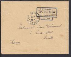 """St. PIERRE Et MIQUELON - Griffe """"Gouvernement P.P."""" Enveloppe De St Pierre Du 30-6-1926 Vers Amanvillers - FR - B/TB - - St.Pierre & Miquelon"""