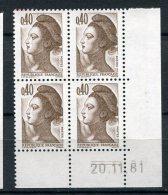 5301    FRANCE   N°  2183**   Type Liberté  40c Brun Foncé  Du  20/11/81   SUPERBE - 1980-1989