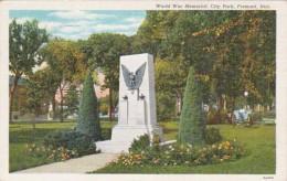 Nebraska Fremont World War Memorial In City Park 1941 Curteich - Fremont