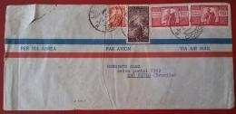 DEMOCRATICA.LIRE 100.BUSTA.STORIA POSTALE.ITALIA.REPUBBLICA.LECCO.SAU PAULO .BRASILE.133 - 6. 1946-.. Republic