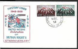 ! -  Ceylon (Ceylan) - Sri Lanka - FDC - United Nations - Declaration Of Human Rights - 10ème Anniversaire - Sri Lanka (Ceylan) (1948-...)