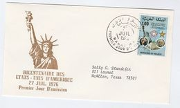 1976 MOROCCO FDC Stamps STATUE OF LIBERTY , US BICENTENNIAL Cover - Morocco (1956-...)