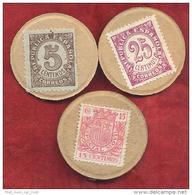 CARTON MONEDA SELLOS REPUBLICA 25,15,5 - 1931-50 Usados