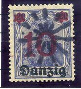 DANZIG 1920 10. On 20 Pf.. With Danzig-Langfuhr Parcel Cancel  Michel 17 - Danzig