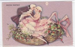 CARD CHIOSTRI BUON NATALE COPPIA COSTUMI OTTOCENTO SU PUNGITOPO E VISCHIO - FP-N-2-  0882-27749 - Illustrators & Photographers