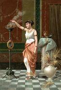 CHROMO BELLE ROMAINE BRULANT DE L'ENCENS - Chromos