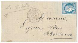 LETTRE Avec N°60 A2  POSITION 35 2 ème état TTB - 1871-1875 Cérès