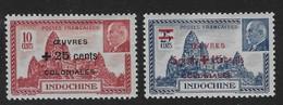 Indo-China 1944 Colonial Development Fund Set Mint Scott B21A-B Surcharge - Indochina (1889-1945)