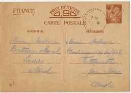 Entier Postal De Type Iris Voyagé De LIESSIES Aude à FONTCOUVERTE Aude En 1941 - Verso Ecrit GLAGEON - Enteros Postales