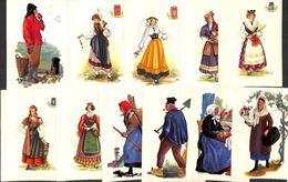 Lot 22 Cartes Costumes, Femmes, Vieux Métier, Gille, Pêcheur, Botresse, Dentellière, Calabria, Puglia, Lucania,... - Costumi