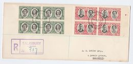 1947 Southern RHODESIA FDC Blocks Of 4 Royalty ROYAL VISIT Stamps Cover - Southern Rhodesia (...-1964)