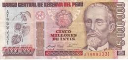 BILLETE DE PERU DE 5000000 INTIS DEL AÑO 1991 (BANKNOTE) - Perú