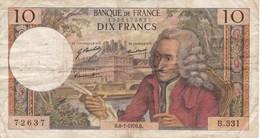 BILLETE DE FRANCIA DE 10 FRANCS DEL 8-1-1970 (BANKNOTE) VOLTAIRE - 1962-1997 ''Francs''