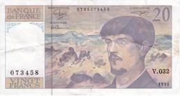 BILLETE DE FRANCIA DE 20 FRANCS DEL AÑO 1991 SERIE V.032  (BANKNOTE) CLAUDE DEBUSSY - 20 F 1980-1997 ''Debussy''