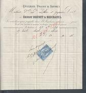 FACTURE DE 1871 ERNEST BRUNET & DESCHANEL EPICERIES GRAINS & FARINES SAINT AMBROIX : - France