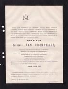 WETTEREN Burgemeester Constant VAN CROMPHAUT 74 Ans 1879 Député Poudrerie Royale Famille PUISSANT D'AGIMONT - Avvisi Di Necrologio