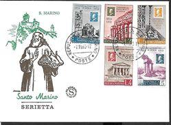 ! -  Saint-Marin - FDC - Serietta - Centenario Del Francobollo Di Sicilia - 1959 - FDC