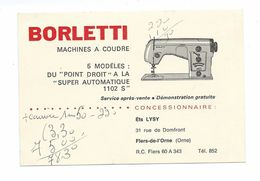 CARTE De VISITE.. Machines à Coudre Borletti, Ets LYSY, Rue De Domfront à FLERS De L'ORNE (61) - Visitekaartjes