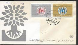 ! -  UAR  Jordanie - FDC - 1960 - World Refugee Year - 2 TIMBRES - 15 Fils Et 35 Fils - Cachet Amman - Arabie Saoudite