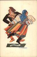 Art Deco Polish Dancing Ethnic OBEREK Z. Stryjenska C1920 Postcard - Illustratoren & Fotografen