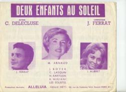61 80 PIANO CHANT PARTITION DEUX ENFANTS AU SOLEIL FERRAT AUBRET ARNAUD 1961 GUITARE - Film Music
