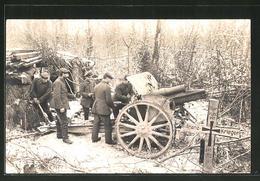 CPA Des Soldats Avec Pièce D'artillerie Im Winterwald Et Kriegsgrab Eines Franz. Des Soldats 1914 - War 1914-18