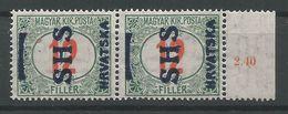 Yugoslavia Kingdom SHS Croatia Jugoslawien Mi.Porto 30F With Wrong Overprint In Pair MNH / ** 1918 - Portomarken