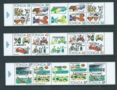 Tonga 1991 Accident Safety Set Of 3 Strips Of 4 With Central Labels (bi-lingual Pairs X 2) MNH Specimen Overprints - Tonga (1970-...)
